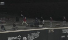 Arkansas Fan Tries To Catch Home Run Ball With His Visor (Video)