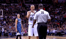 Manu Ginobili Calls a Technical on Ref Who Bounced a Ball at his Face (GIF)