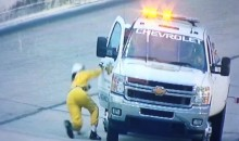 NASCAR Track Worker Can't Stand Up On His Own Two Feet (Video)