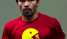 Pacquiao Trolls Mayweather with Shirt Showing Pac-Man Eating Money (Pic)