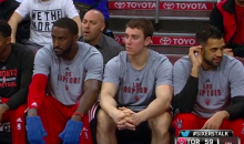 Patrick Patterson Rocks Some Sick Mittens on the Raptors Bench