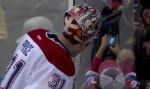 Carey Price Takes Selfie With a Fan During Game vs. Isles (Video)