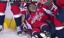 Alex Ovechkin Wipes Out While Celebrating 40th Goal of the Season (Video)