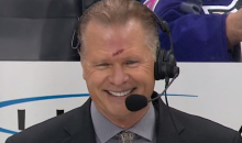 NBCSN's Brian Engblom Takes Puck to the Face, Gets Stitches, Returns to Action (Videos)
