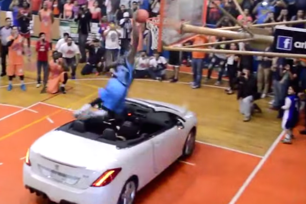 Total Pro Sports Guy Attempts Dunk Over Car, Fails Miserably