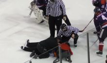 Hockey Referee Knocked Out Cold After Player Knocks His Feet Out From Under Him (Video)
