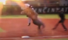 Collision Between Runner and 1st Baseman Floors Both (Video)