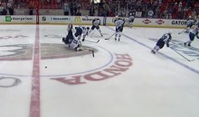 Jets Goalie Ondrej Pavelec Taken Out By Teammate During Warm-Up (Video