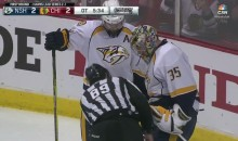 Watch Everyone Search Pekka Rinne For a Missing Puck During Overtime (Video)