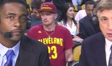 This Cavs Fan Behind the TNT Guys Seems to be Tweaking (Video)