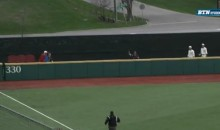College Outfielder Makes an Amazing Catch over a Wall (Video)