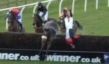 Jockey Falls Off Horse at Worst Possible Time, Crashes Into Hurdle (Video)
