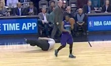 NBA Ref Joey Crawford Falls on His Face in the Middle of Raptors-Hornets Game (Video)