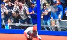 Mets Fan Tries To Throw Beer On Phillies Outfielder (Video)