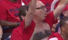 Hardcore Pelicans Fan Paints Anthony Davis Unibrow Across His Nipples, and It's as Horrifying as It Sounds (Videos)