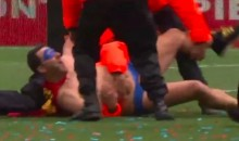 Caped Rugby Streaker Gets Suplex'd by Field Security (Video)