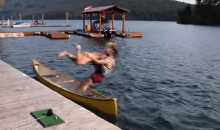 Canoe Trip Goes South Due to Naked Tackling Man (Video)