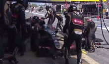 F1 Driver Romain Grosjean Runs Into Jackman in Pit (Video)