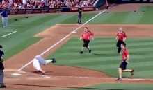 Amazing Idiot Runs Onto Field at Cardinals Game and Does Somersault Across Home Plate (Videos)