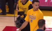 Rockets Troll Steph Curry by Sending Seldom-Used Rookie to Shake Hands Before Game 1 of West Finals (Video)