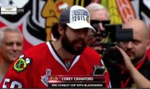 Corey Crawford Drops F-Bomb During Blackhawks Rally (Video)