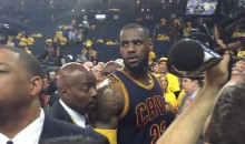 Female Warriors Fan Yells Vulgar Insult at LeBron James, Gets In Trouble (Video)