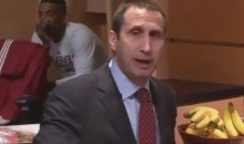 JR Smith Looking Very Uninterested During David Blatt Halftime Speech (Video)