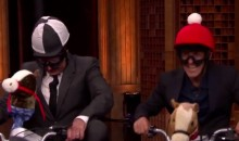 Jimmy Fallon Races American Pharoah Jockey Victor Espinoza on Mini-Bikes (Video)