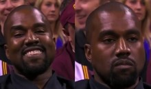 Kanye West Goes From Smile to Serious During Game 4 (Video)