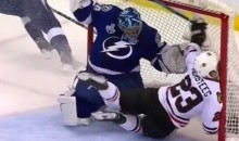 Hawks' Kris Versteeg Gets Penalty After Going Face-First Into Goal Post (Video)