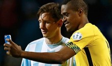 Jamaican Player Grabs a Selfie with Lionel Messi After Loss (Video)