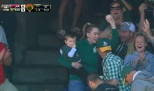 Mom Catches Foul Ball with Baby in Hand (Video)