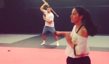 Olivia Munn and Aaron Rodgers Practice Sword Fighting? Yup (Video)