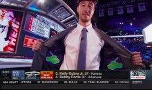 Frank Kaminsky Rocked a 'Frank the Tank' Jacket at the Draft