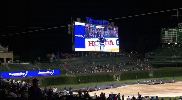 Hawks Win Played on Wrigley Video Board During Rain Delay   Total Pro Sports