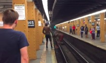 This Guy Comes Up JUST Short Jumping Across Subway Track (Video)