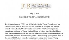 Read Donald Trump's Douchebag Statement About ESPN and NASCAR