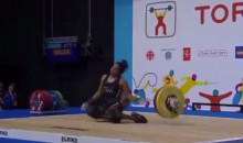 Female Weightlifter Collapses in Competition, Still Medals (Video)