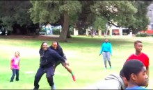 Marshawn Lynch Shows He's a Kickball Powerhouse, Too (Video)