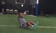 Odell Beckham Makes One-Handed Catches Lying Down (Video)