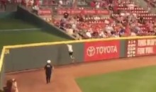 Reds Fan Runs Onto Field, Escapes Over Outfield Fence (Videos)