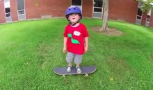 Three Year-Old Nails Skateboard Trick, To His Dad's Delight (Video)