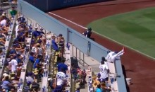 Dodgers Ball Boy Tumbles into Stands Chasing Foul Ball (Video)