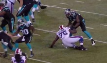 IK Enemkpali Gets Pancaked By Panthers WR (Video)