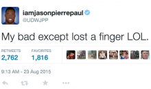 Jason Pierre-Paul Blames Twitter Typo on His Missing Finger (Tweets)