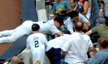 Mark Teixeira Yells at Fan Who Tried to Run Him Over to Get a Foul Ball (Video)