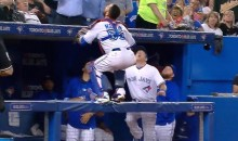 Russell Martin Jumps Up Onto Dugout Railing Like a Cat Trying to Catch Foul Ball (Video)