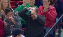 Red Sox Fan Snags Fly Ball at the Expense of His Hat (Video)