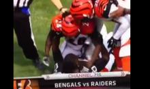 Bengals Pacman Jones Rips off Raiders Amari Cooper's Helmet, Then Smashes his Head Against It (Video)