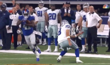 Tony Romo Thinks About Making A Tackle, Then Decides To Bail… LOL (Video)